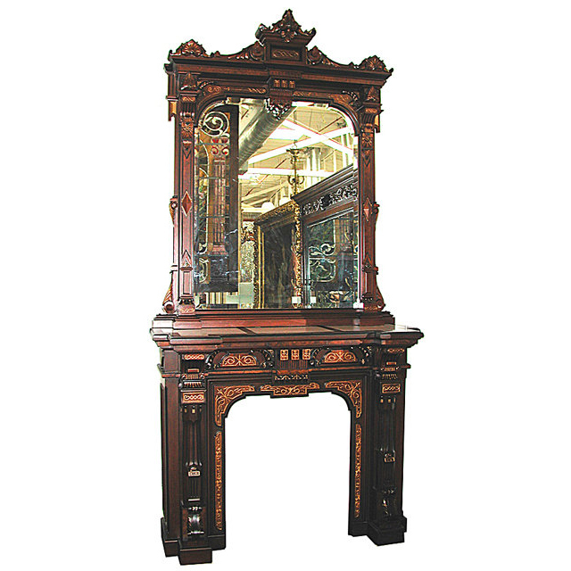 5297 19th century American Renaissance Revival Incredible Quality Mantle and Overmirror