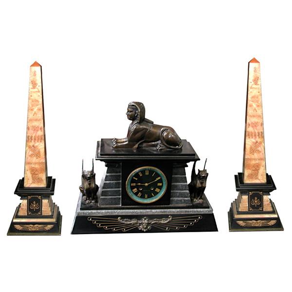62.5306 3-Piece Egyptian Revival Bronze & Marble Clock Set