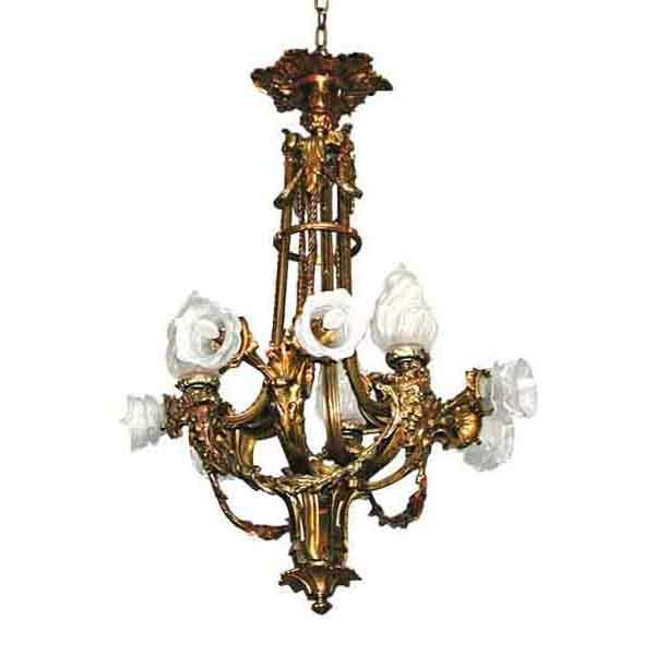 5311 French Antique Bronze Chandelier, c. 1880