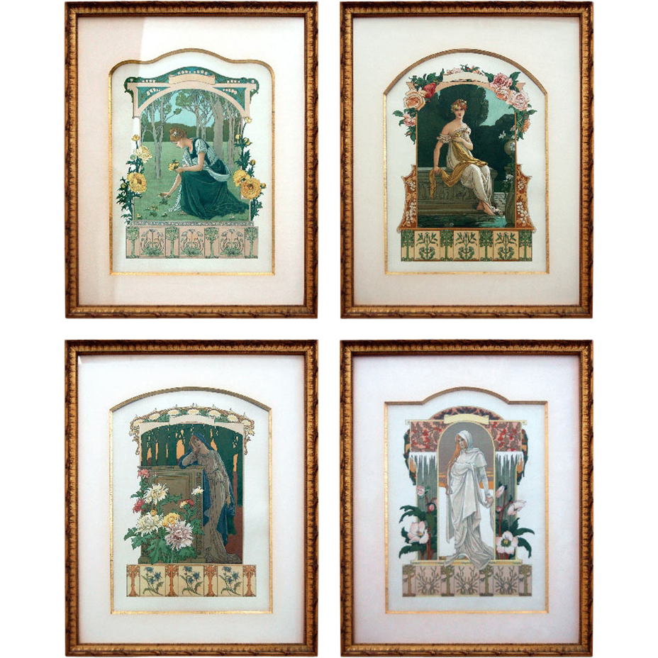 "5320 Set of Four Framed French Art Nouveau ""Seasons"" Allegories by Elisabeth Sonrel, 1890"