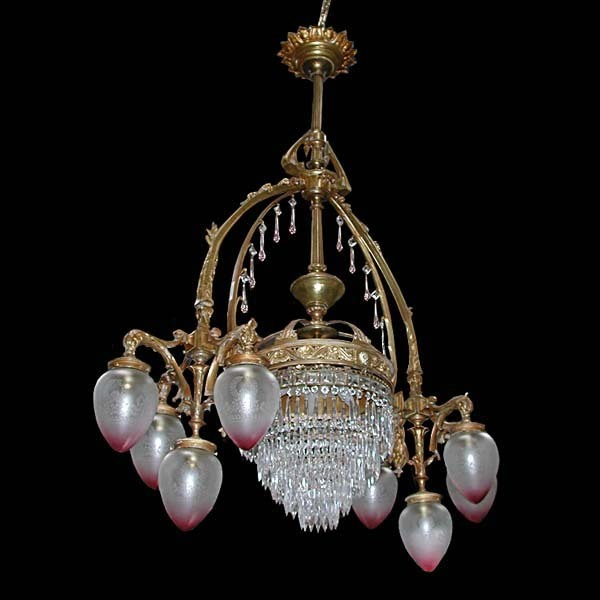 5343 8 Arm Bronze Chandelier with Dolphin Heads