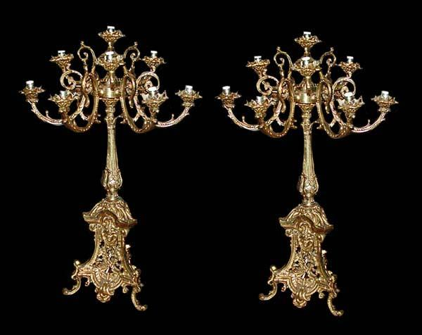 Pair of 19th C. French Bronze Candleabra
