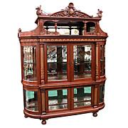 5354 Rare 19th C. American Mahogany Renaissance Revival Grand Curio Cabinet