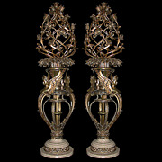"5374 Pair of Fabulous 5'2"" Bronze Torcheres with White Marble Base"