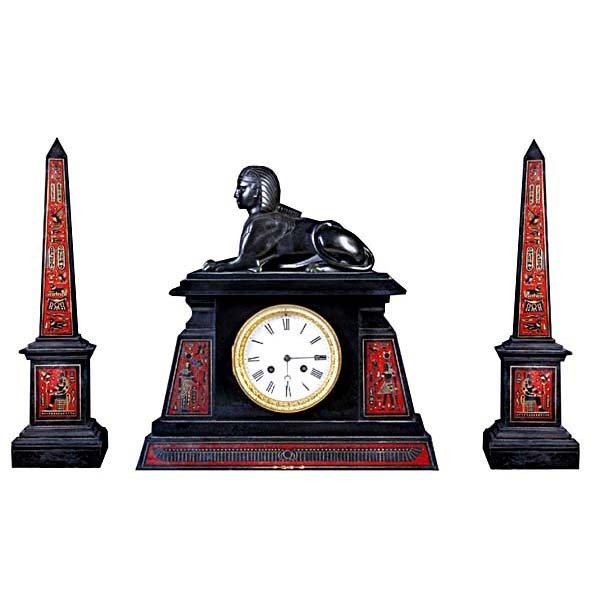 5382 Fantastic Egyptian Revival Gilt & Painted Bronze and Onyx 3 Pc. Clock Set.