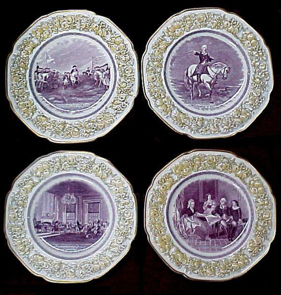 "5388 Beautiful 12 Pc Porcelain ""La Fayette College"" Plate Set"