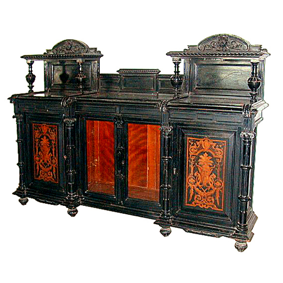 5423 Antique Inlaid & Ebonized Victorian Credenza c. 1880