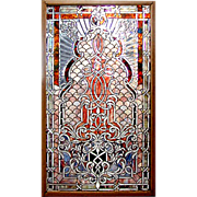 5454 Beautiful Beveled Stained and Rippled Glass Window