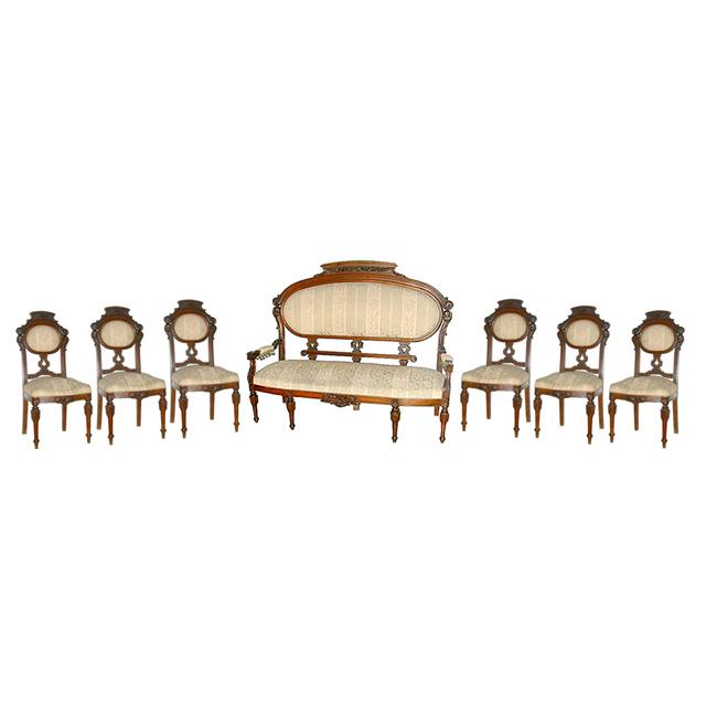 5458 Fabulous 7 Piece Renaissance Revival Parlor Set c. 1880