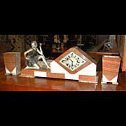 5480 Beautiful Three-Piece Art Deco Clock Set with Bronze Girl c. 1925