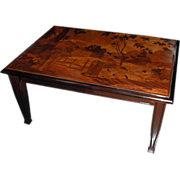 5500 Inlaid Art Nouveau Coffee Table with Tree & House Scene