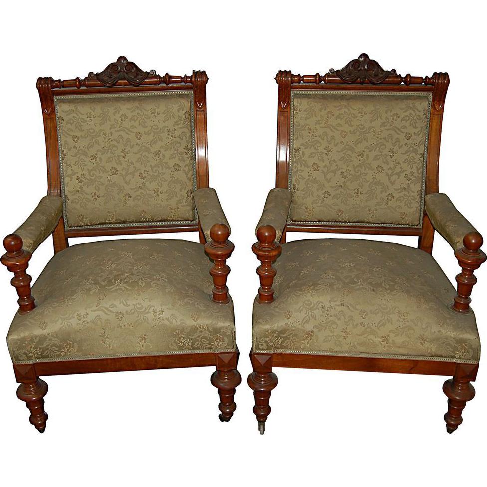 5521 Pair of 19th C. Renaissance Revival Armchairs