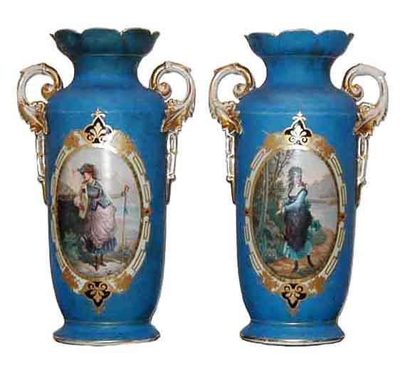 5539 Beautiful Pair of 19th C. Hand Painted Vases by Old Paris