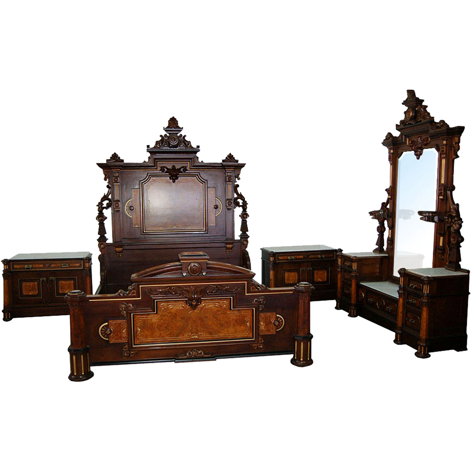 7505 4-Pc. American Victorian Antique Bedroom suite by Mitchell and Rammelsberg c. 1880