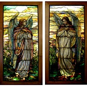 5603 Magnificent Pair of 8'H Stained Glass Angel Windows by Tiffany Studios