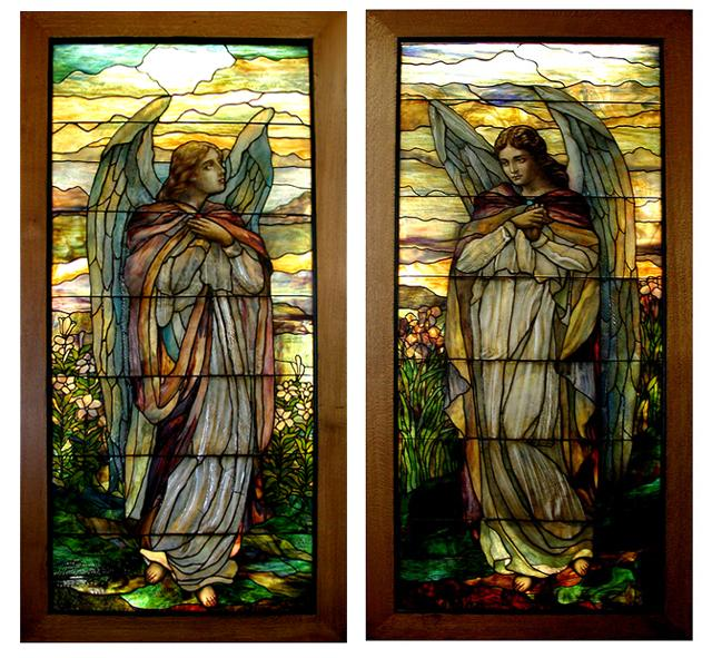 5603 Magnificent Pair of 8'H Stained Glass Angel Windows by ...