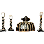 5604 Set of Ebonized Candlesticks with Matching Jewelry Box