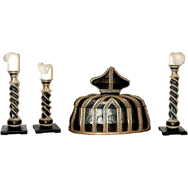 5604 Set of Ebonized Candlesticks with Matching Jewelry Box