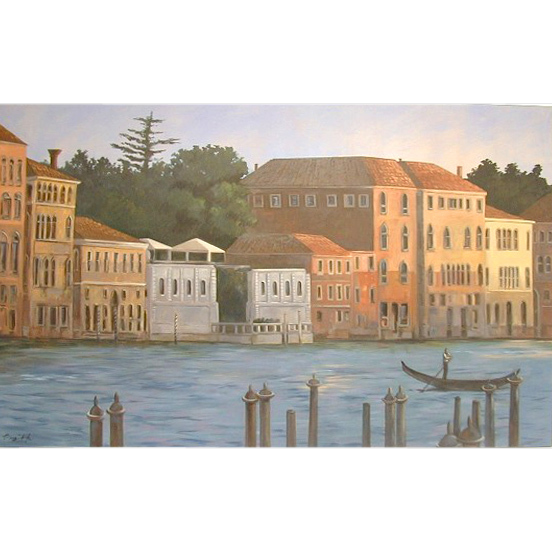 5613 Oil on Canvas Mural w/Canal Scene Signed: Gerry High