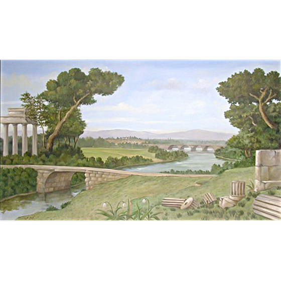 5615 Oil on Canvas Mural depicting Ruins Scene Signed: Gerry High