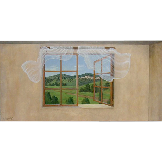 5616 Oil on Canvas Window Scene Signed: Gerry High