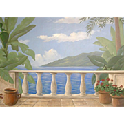 5617 Oil on Canvas Mural w/Column Rail Overlooking Lake Signed: Gerry High