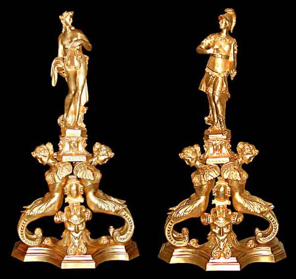 5622 Pair of 19th C. Figural Dore Bronze Andirons