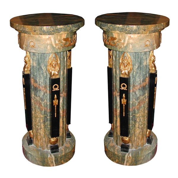 5624 Pair of French Empire Bronze & Marble Antique Pedestals