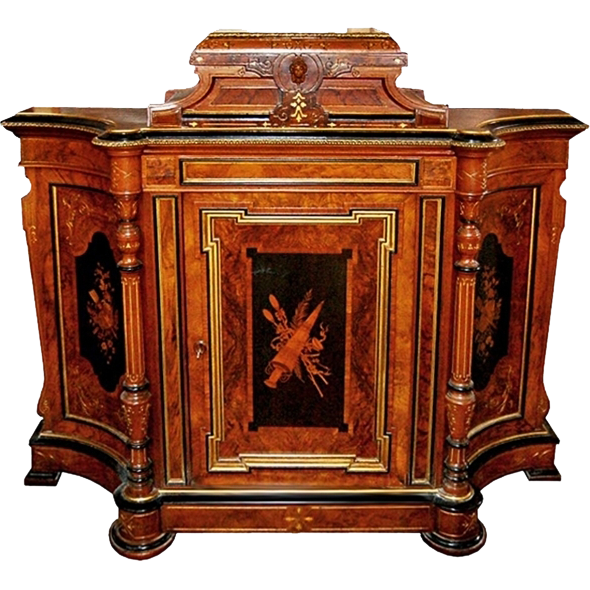 563 Inlaid Cabinet with Bronze Trim