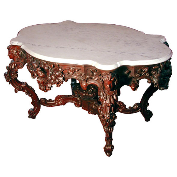 "5657 Rare Rosewood Carved 57"" Marble Top Center Table"