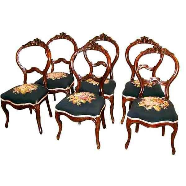 5674 Fabulous Set of Six Antique 19th C. American Needle Point Chairs
