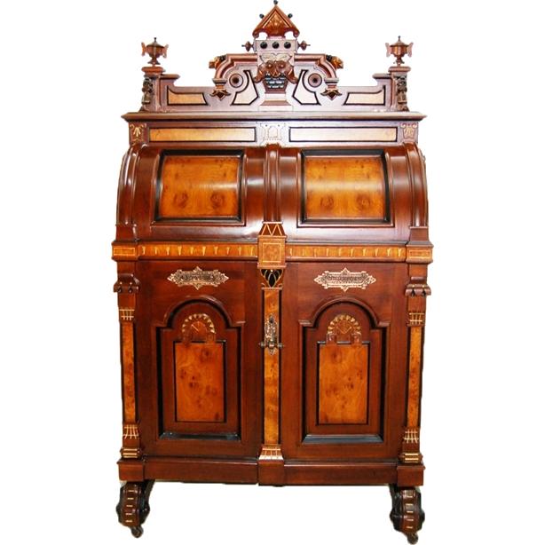 5675 Renaissance Revival Wooton Extra Grade Patent Secretary Desk