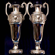 5689 Beautiful Pair of WMF Silver Plated Vases