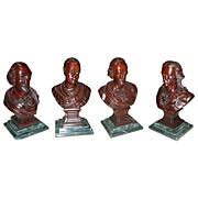 5701 Hand Carved Walnut Busts of 4 Famous Men in History