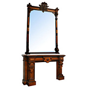 5709 American Renaissance Revival Walnut and Burl Mantle and Over Mirror