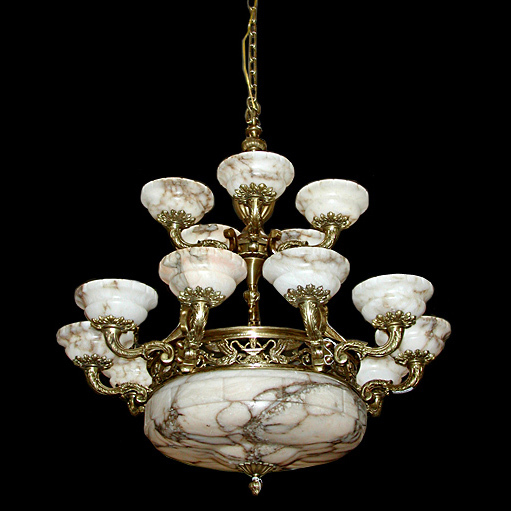 5728 French Bronze & Alabaster Chandelier