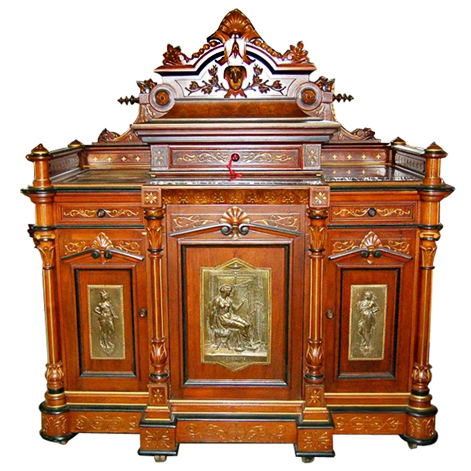 5738 Carved Pottier & Stymus Cabinet with Bronze Plaques
