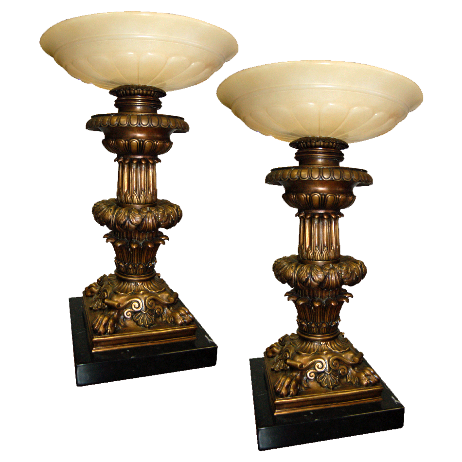 5742 Pair of Bronze & Alabaster Courthouse Judge's Bench Torchères