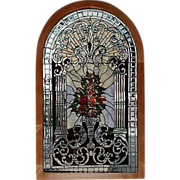 5747 Beautiful Arched Stained Beveled and Rippled Glass Window