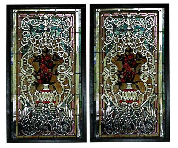 5748 Beautiful Pair of 19th C. Stained Glass Poppy Windows