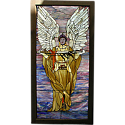 5753 Beautiful Stained Glass Window with Angelic Warrior Motif
