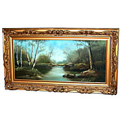 5765 Large 19th C. American Oil on Canvas Landscape Painting
