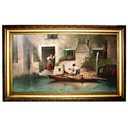 5775 Venetian Scene Oil on Canvas Signed J. Castiglioni 1901