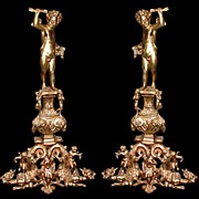 5777 Pair of French Antique Cast Bronze Figural Andirons