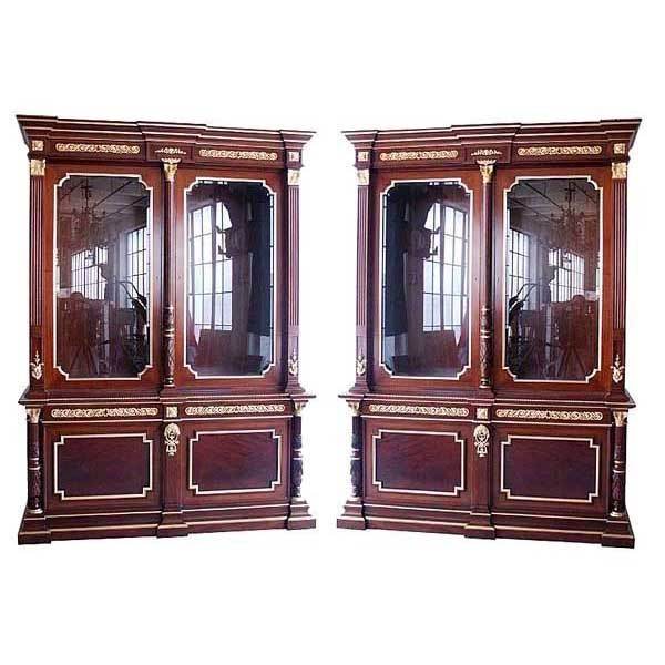 5790 Beautiful Pair of Antique French Empire Bookcases