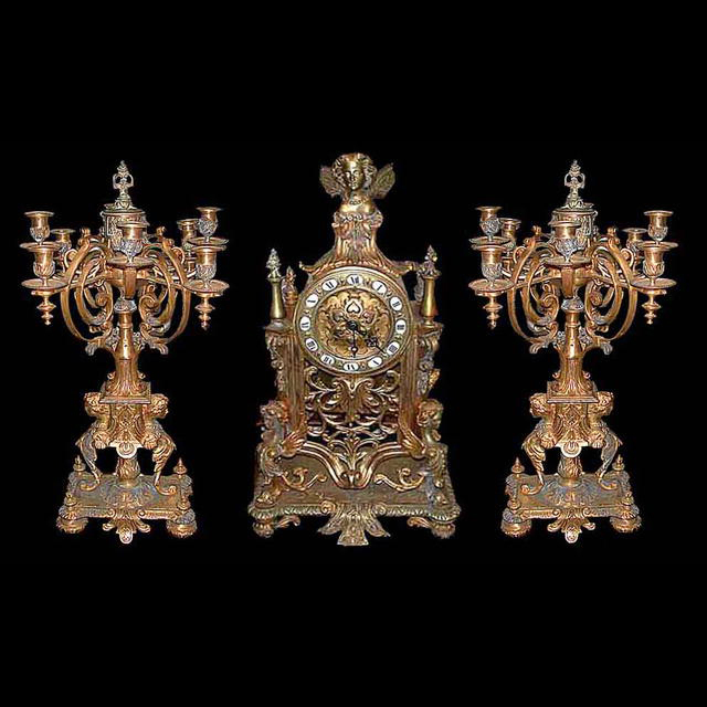 5794 Beautiful 3 Pc French Bronze Candelabra Clock Set