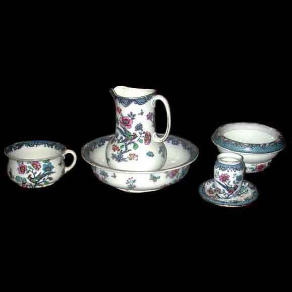 5793 19th C. American Wash Set with Birds & Floral Pattern