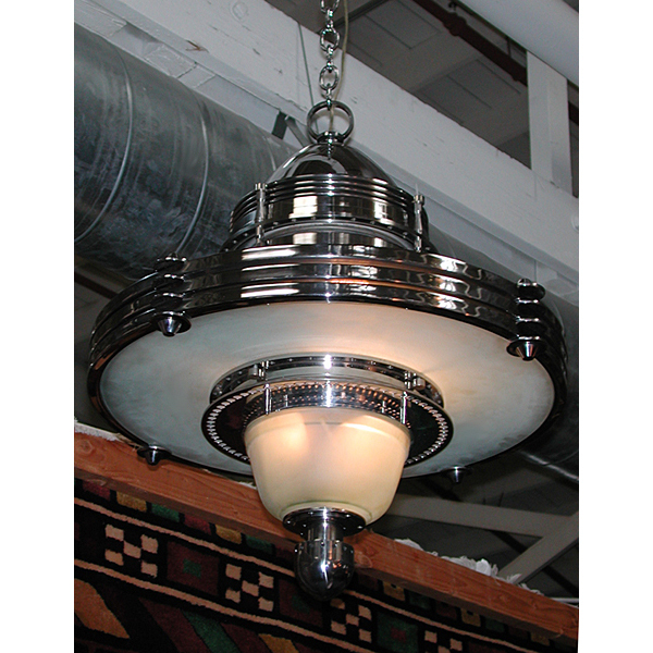 5801 fabulous deco machine age hanging lighting fixture from antiquariantraders on ruby
