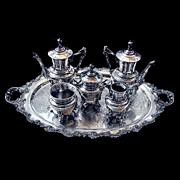 5809 American Eastlake 6-Piece Silverplated Tea Set c. 1885