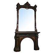 5812 American Renaissance Revival 19th century Mantel & Over Mirror